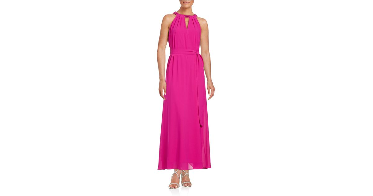 Lyst - Belle By Badgley Mischka Stone-accented Maxi Dress in Pink