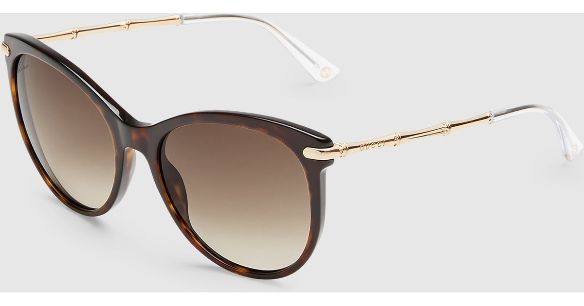 6bba53fe119 Source · Gucci Cat Eye Sunglasses With Metal Bamboo Temples in Brown Lyst