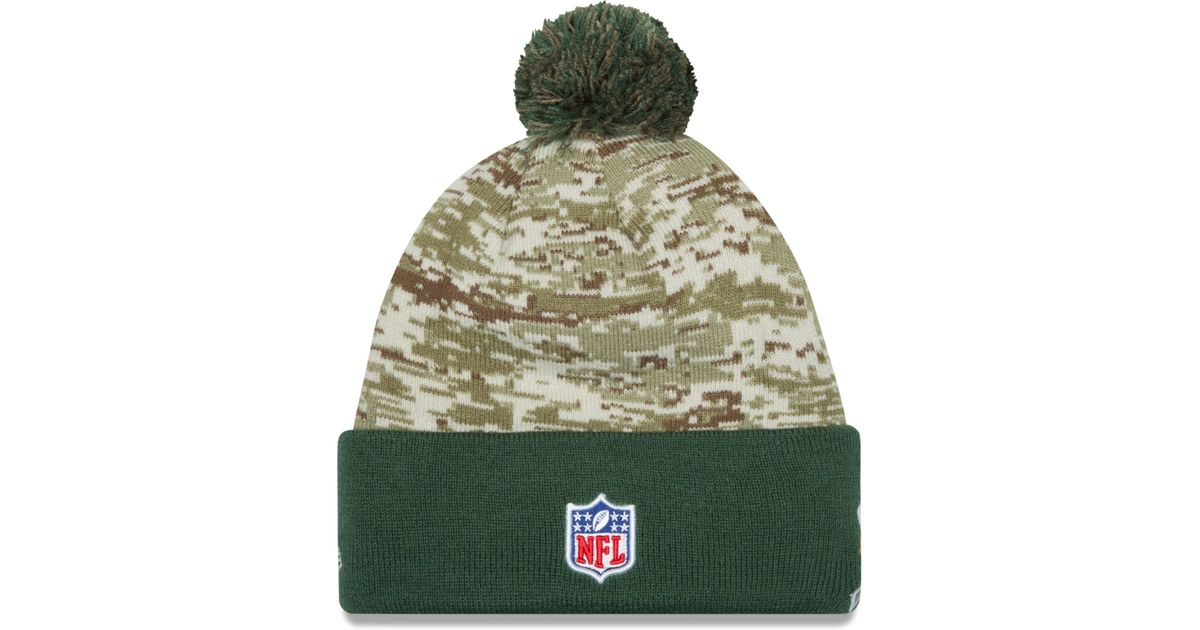 f782712f ... clearance lyst ktz green bay packers salute to service knit hat in  green for men e1bef