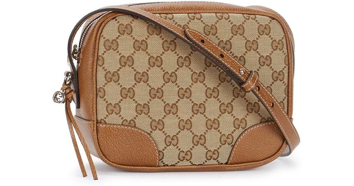 8bfaa7bdc15bbc Gucci Bree Monogrammed Oak Leather Cross-body Bag in Brown - Lyst