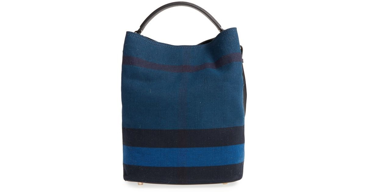 Lyst - Burberry Medium  Ashby  Bucket Bag in Blue 6b0f8d948146f