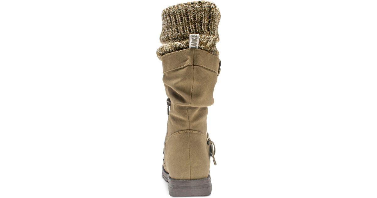 Lyst Muk Luks Sky Knit Top Boots In Brown