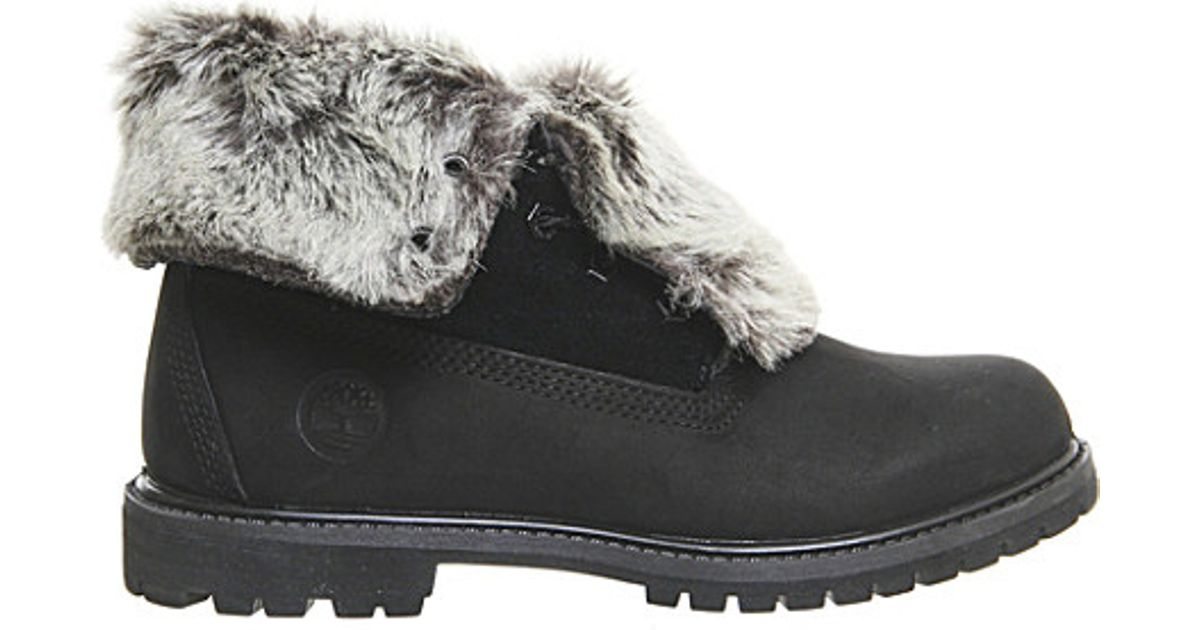 91d25846cf56 Timberland Leather Faux-fur Fold-down Boots in Black - Lyst