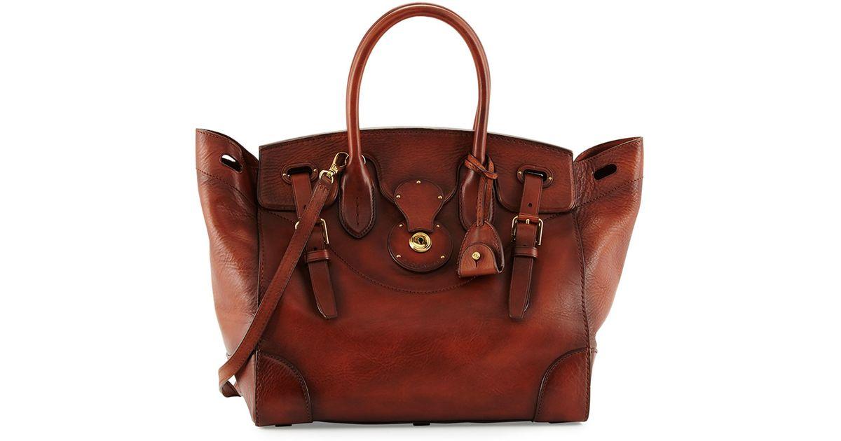dcfe0fcb7961 ... italy lyst ralph lauren ricky 33 soft vachetta satchel bag in brown  1f36e 91aca