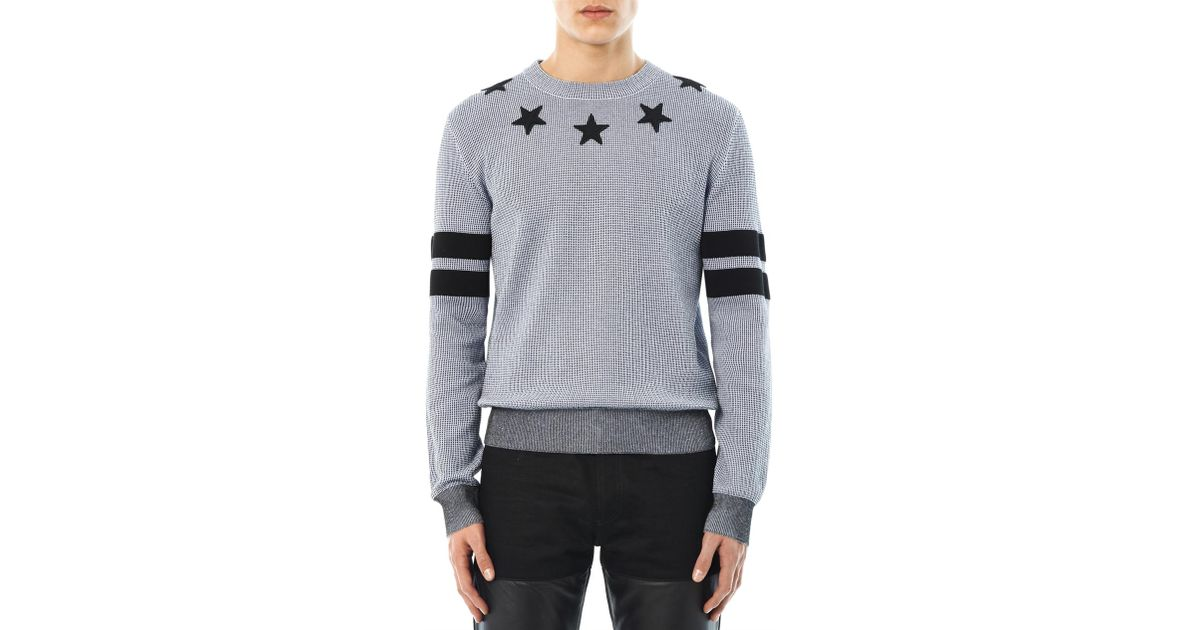 802f7a3c6a0e Lyst - Givenchy Stars and Stripes Crewneck Sweater in Gray for Men