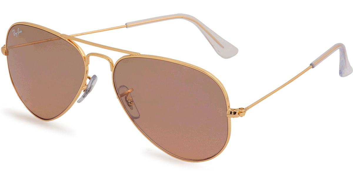 ray ban 3025 aviator sunglasses in pink lyst. Black Bedroom Furniture Sets. Home Design Ideas