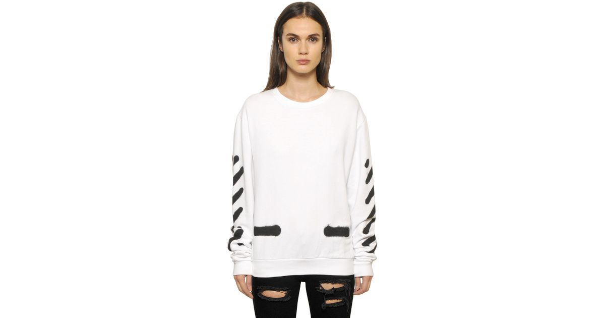 off white c o virgil abloh spray paint effect cotton sweatshirt in white lyst. Black Bedroom Furniture Sets. Home Design Ideas