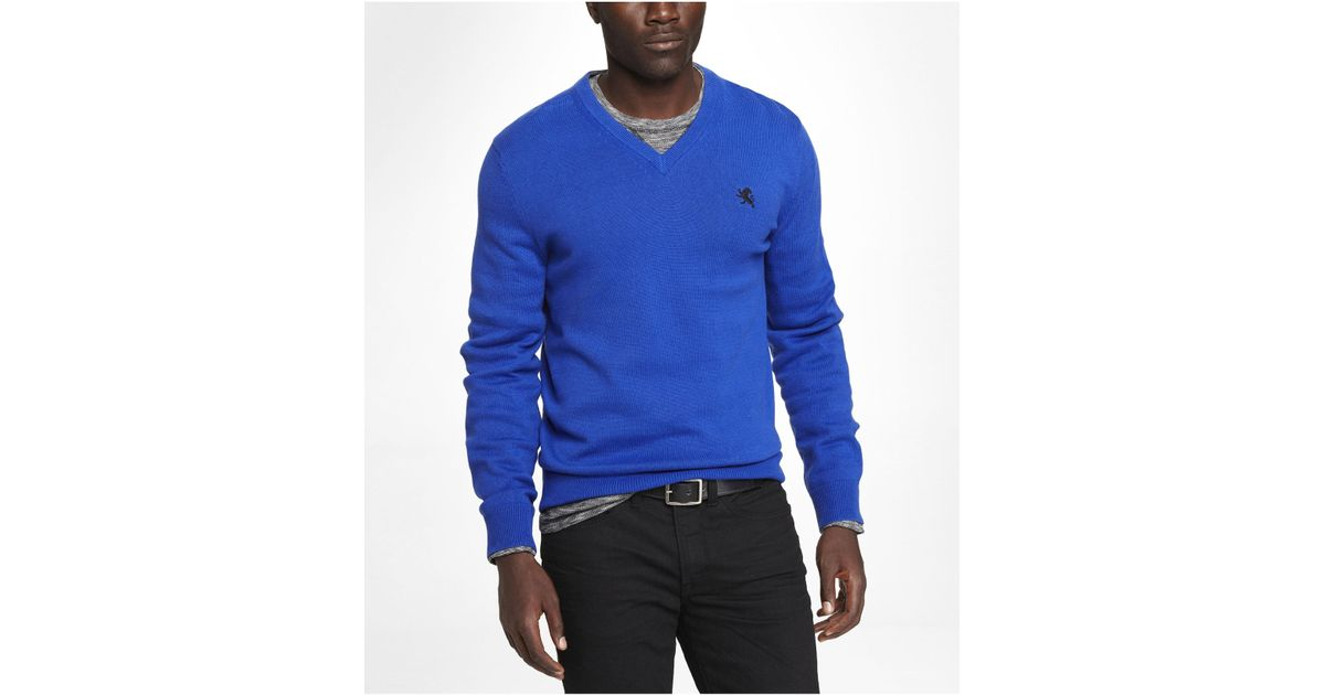 e6e66f3a57b4 Lyst - Express Cotton Vneck Small Lion Sweater in Blue for Men
