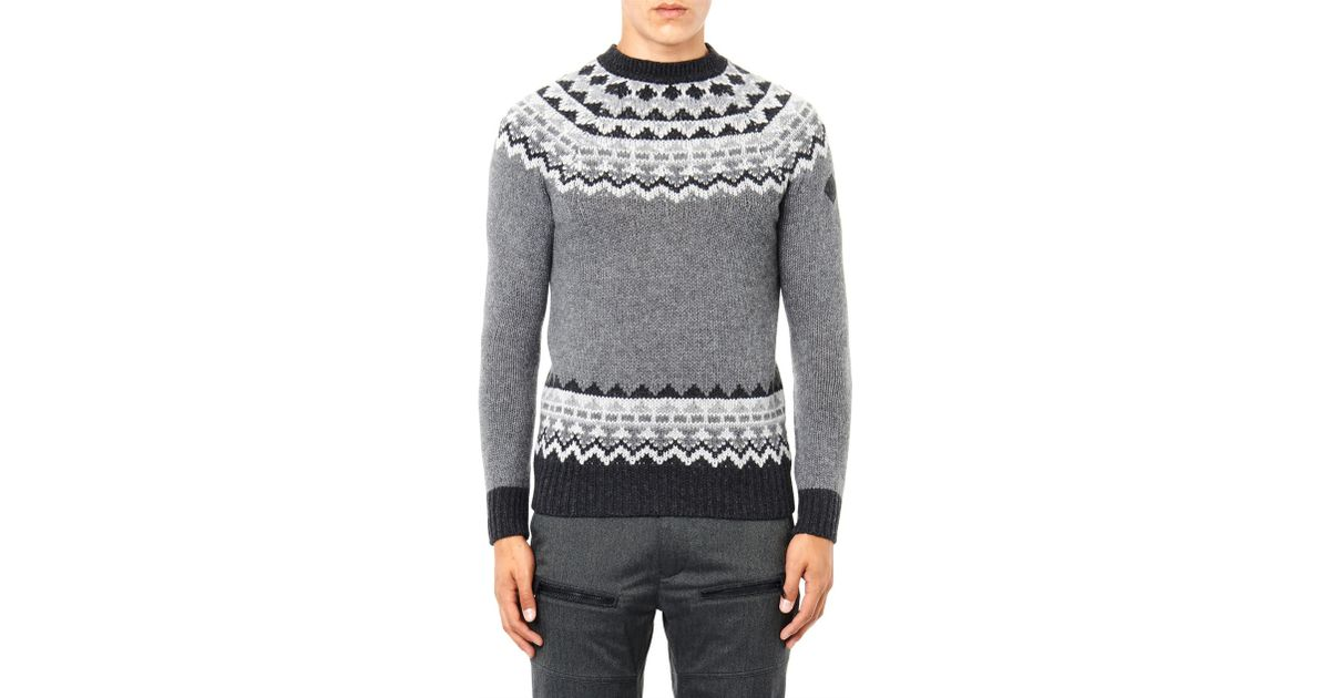 Lyst - Moncler Fair Isle Intarsia-knit Sweater in Gray for Men
