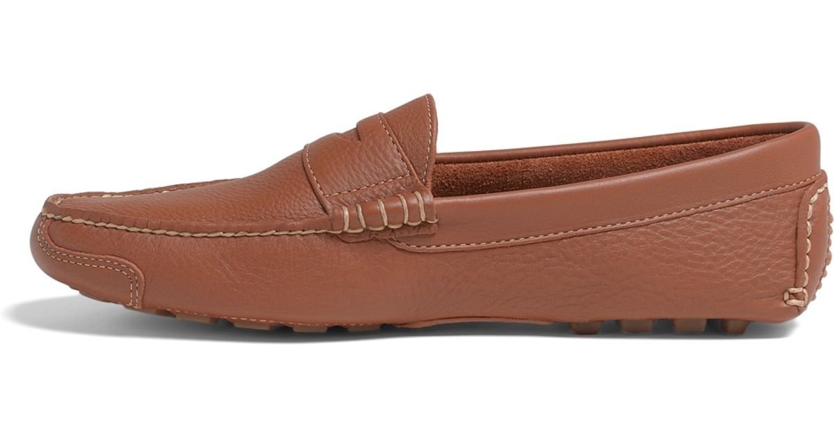 Lyst - Brooks Brothers Pebble Leather Driving Mocs in Brown for Men 7d60603b410