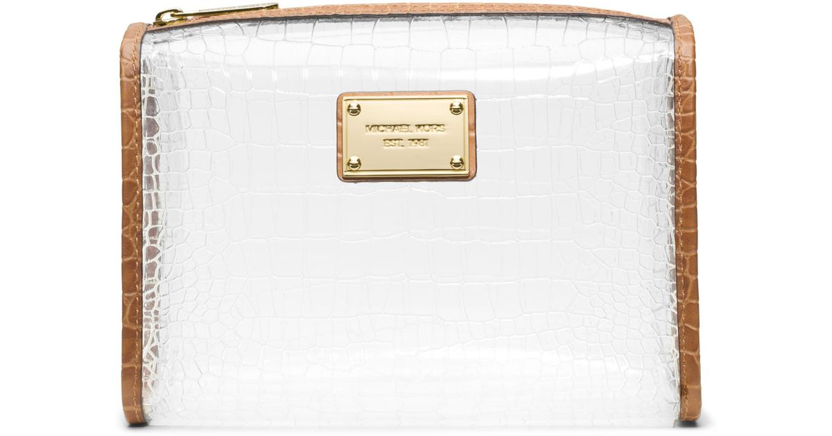 34366e873b0e MICHAEL Michael Kors Large Nora Clear Cosmetic Bag in White - Lyst