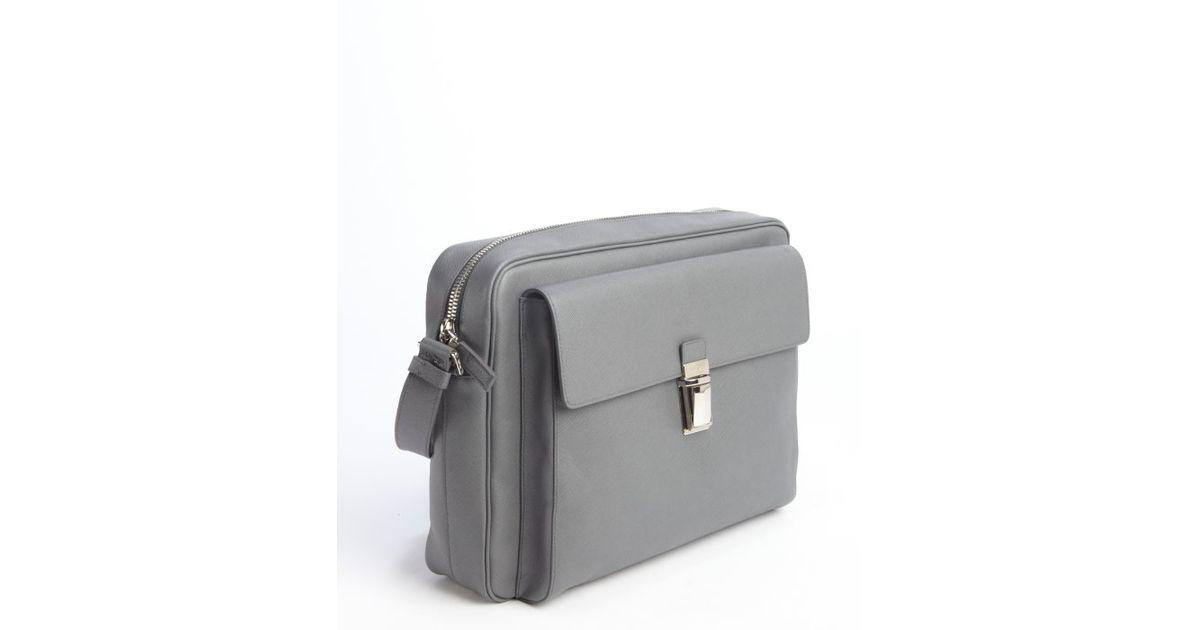 replica balenciaga handbags uk - Prada Grey Saffiano Leather Messenger Bag in Gray for Men (grey ...