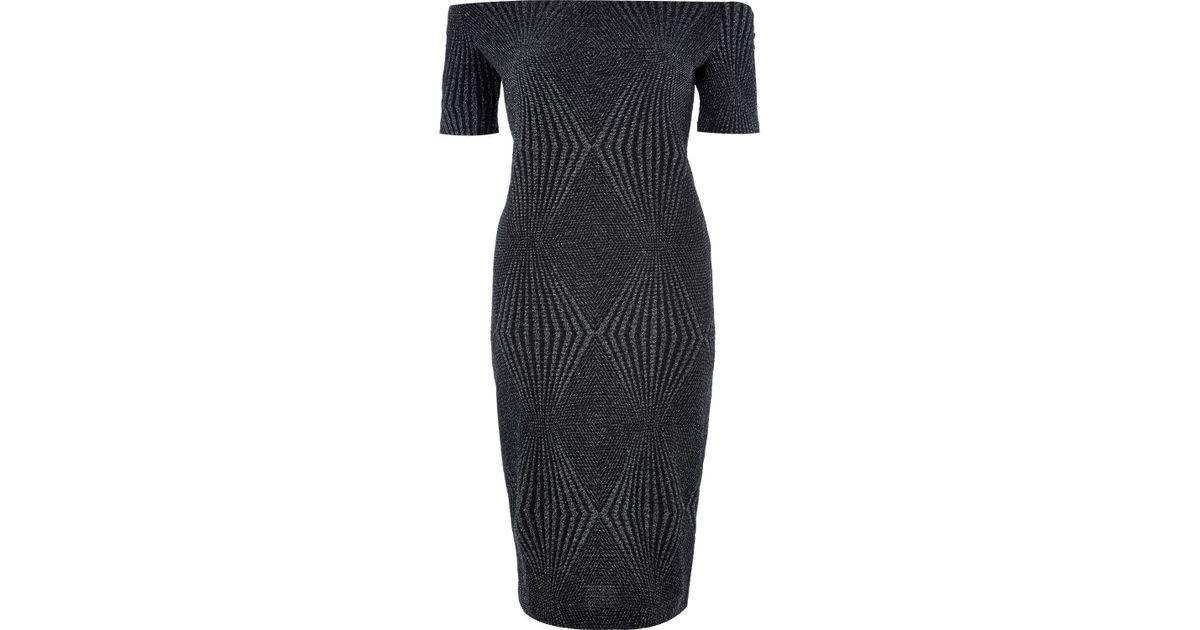 de4df26f River Island Black Sparkly Bardot Bodycon Midi Dress in Black - Lyst