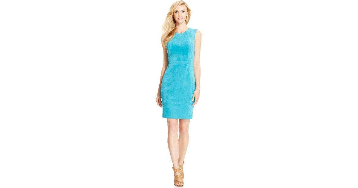 b1c27f8ddf117 Lyst - Calvin Klein Petites Sleeveless Faux-suede Sheath Dress in Blue