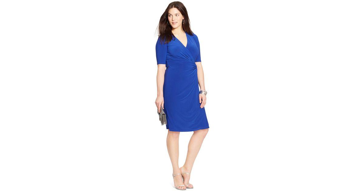 Lauren by Ralph Lauren - Blue Plus Size Faux-Wrap Dress - Lyst
