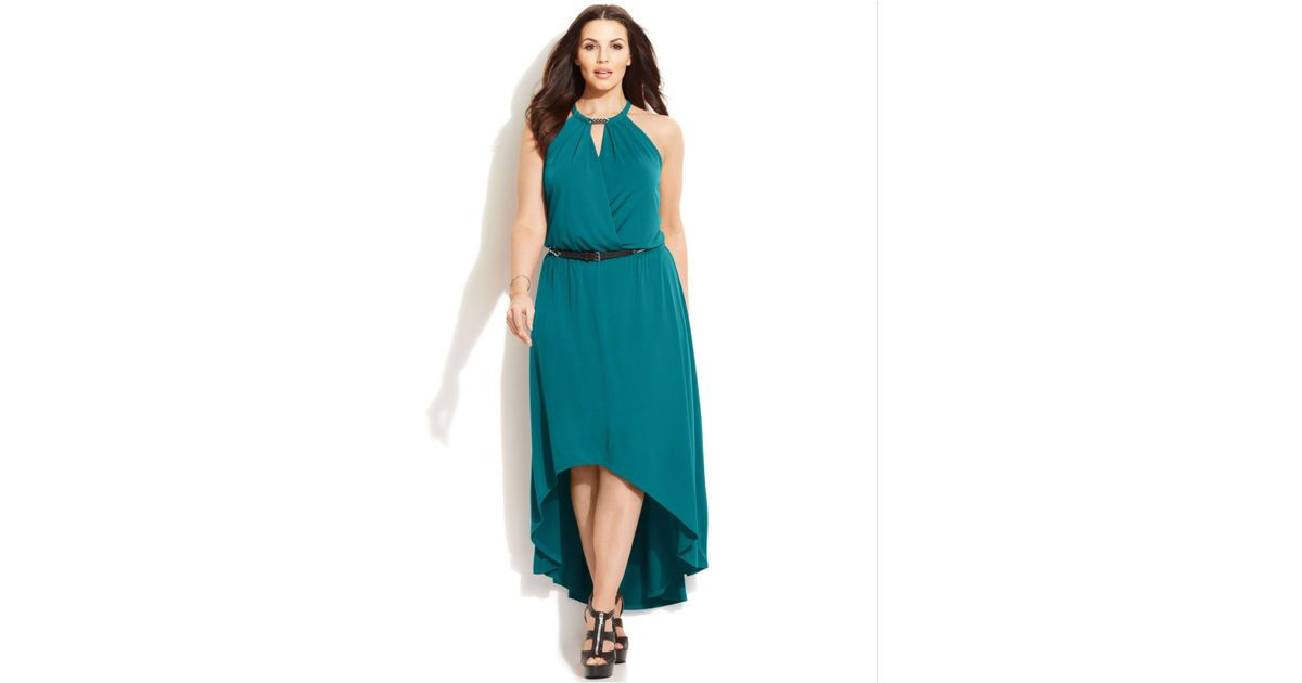 ae529612ce2 Lyst - Michael Kors Michael Plus Size Belted High-Low Maxi Dress in Blue