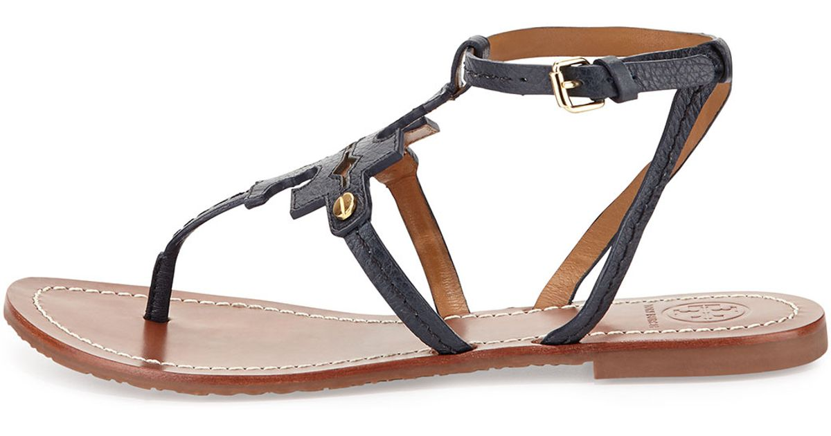 e05aba7ed Lyst - Tory Burch Phoebe Leather Flat Sandal in Black