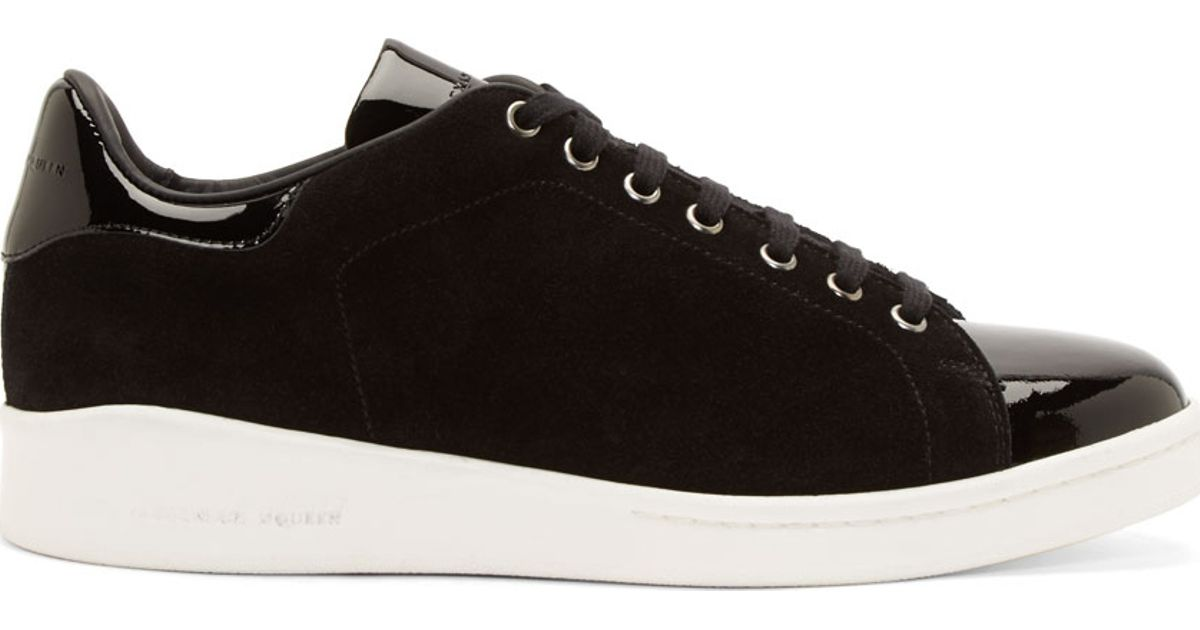 dc35e59658c7 Lyst - Alexander McQueen Black Suede And Patent Leather Sneakers in Black  for Men