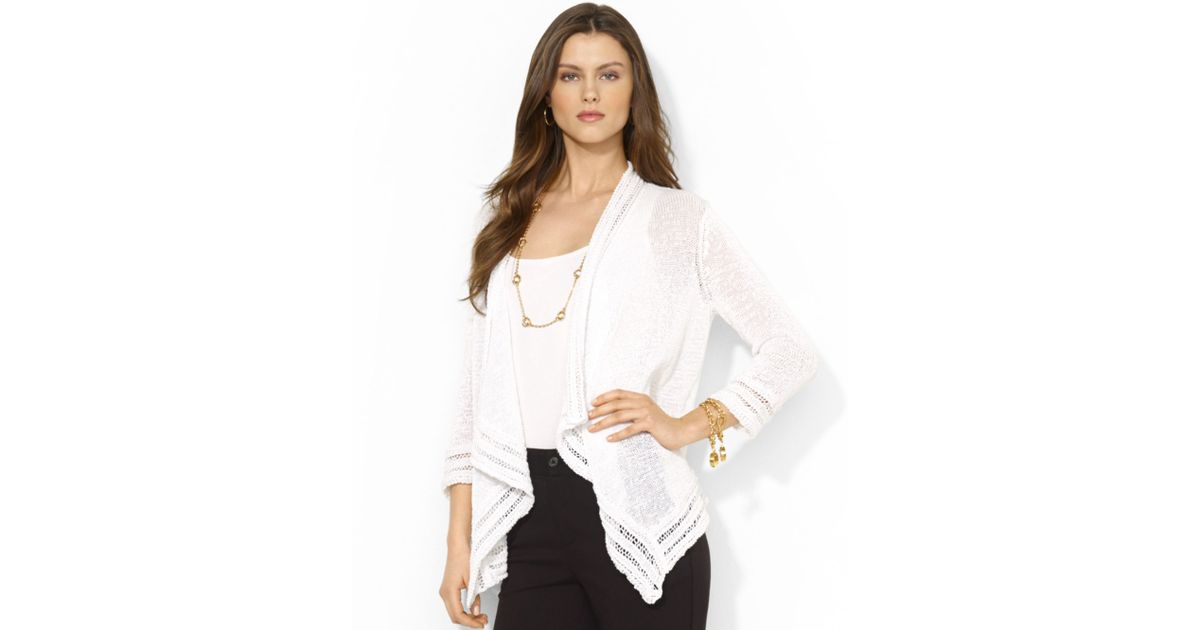 Lauren by ralph lauren Petite Openknit Waterfall Cardigan in White ...