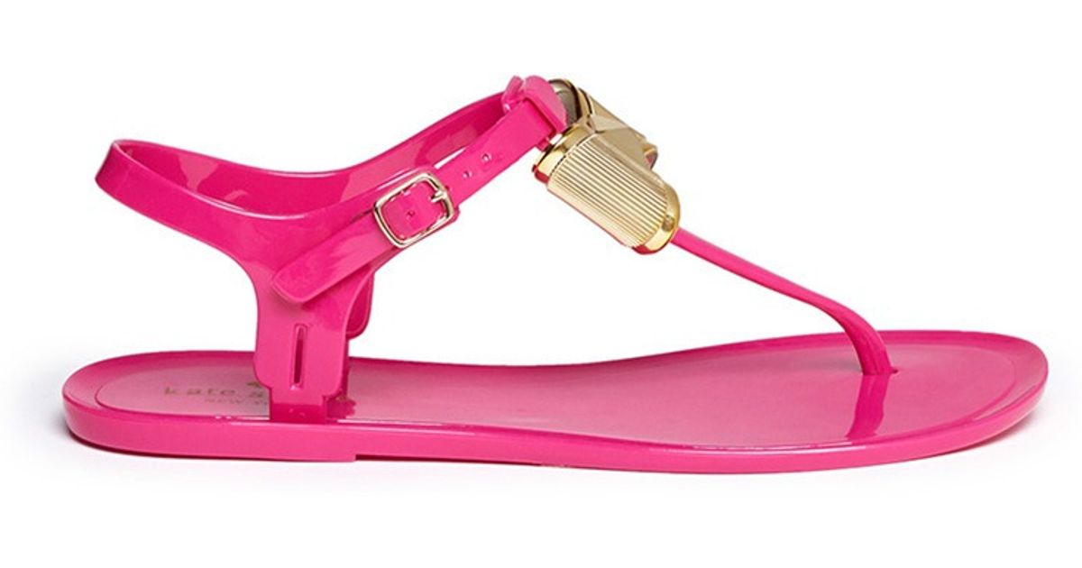 02d17a96158 Kate Spade Fab Bow Jelly Sandals in Pink - Lyst