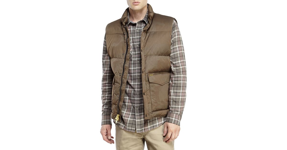 3c13f8c09e7a1 Lyst - Woolrich Aleutian Camouflage Down Vest in Brown for Men