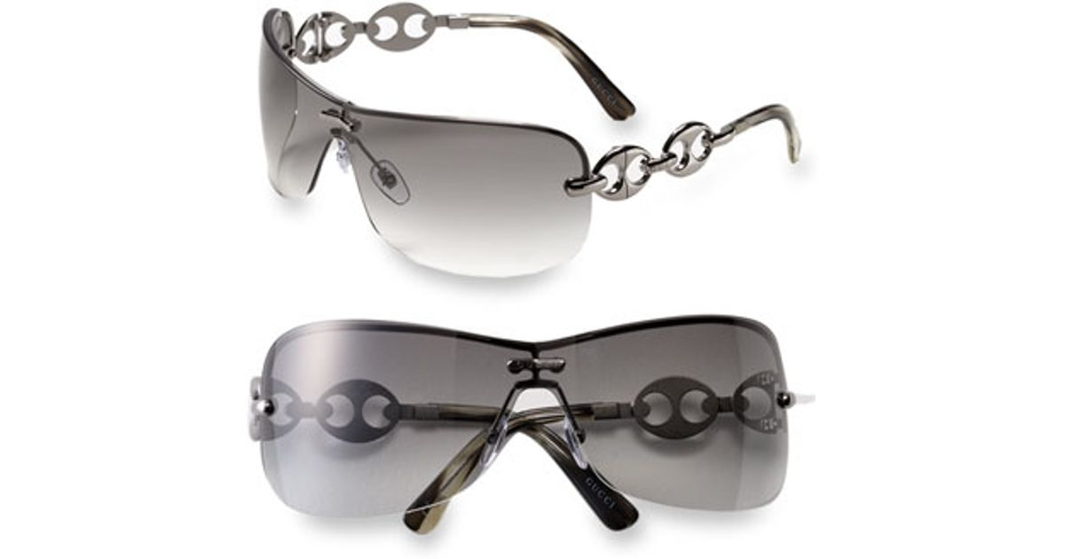 bba5918d31 Lyst - Gucci Rimless Shield Sunglasses With Chain Detail - Gunmetal in  Metallic