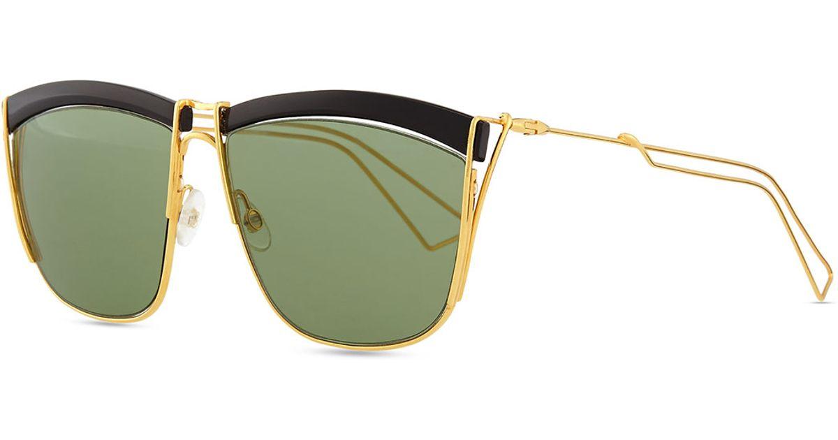 0b913c6e58 Dior Metal Wire Rectangle Sunglasses in Black - Lyst