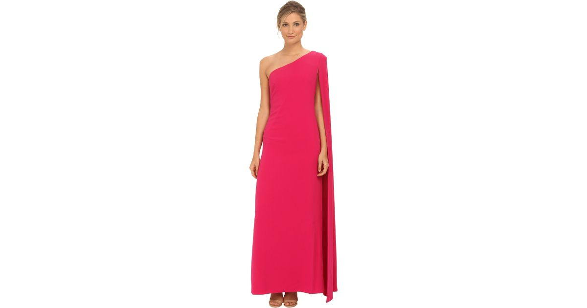 Lyst Jill Stuart Hot Pink Crepe One Shoulder Cape Evening Gown In