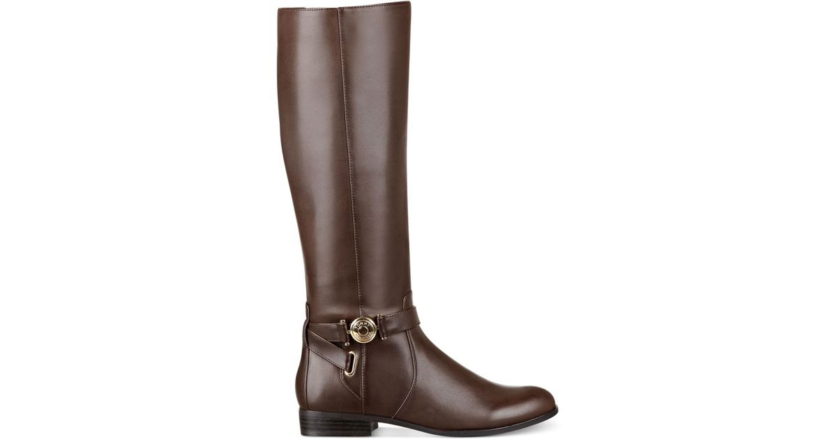 3d1a9a495e2a Lyst - Tommy Hilfiger Terese Wide Calf Riding Boots in Brown