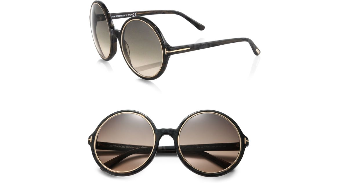 18a094e620 Tom Ford Carrie 59mm Round Sunglasses in Black - Lyst