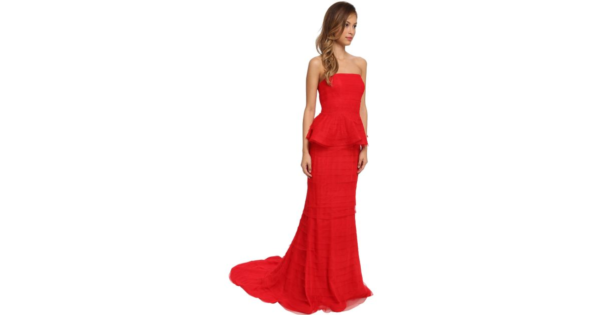 Lyst - Adrianna papell Shutter Peplum Gown in Red