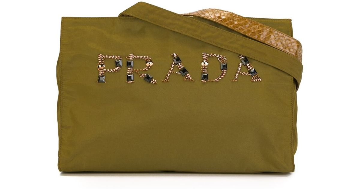 prada clutch with chain - prada logo-embellished canapa shoulder bag, authentic prada ...