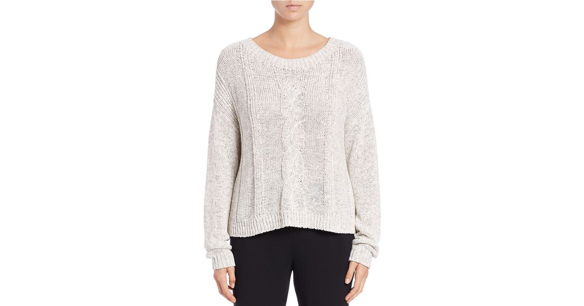 Eileen fisher Stretch-cotton Chunky Cable-knit Sweater in White | Lyst