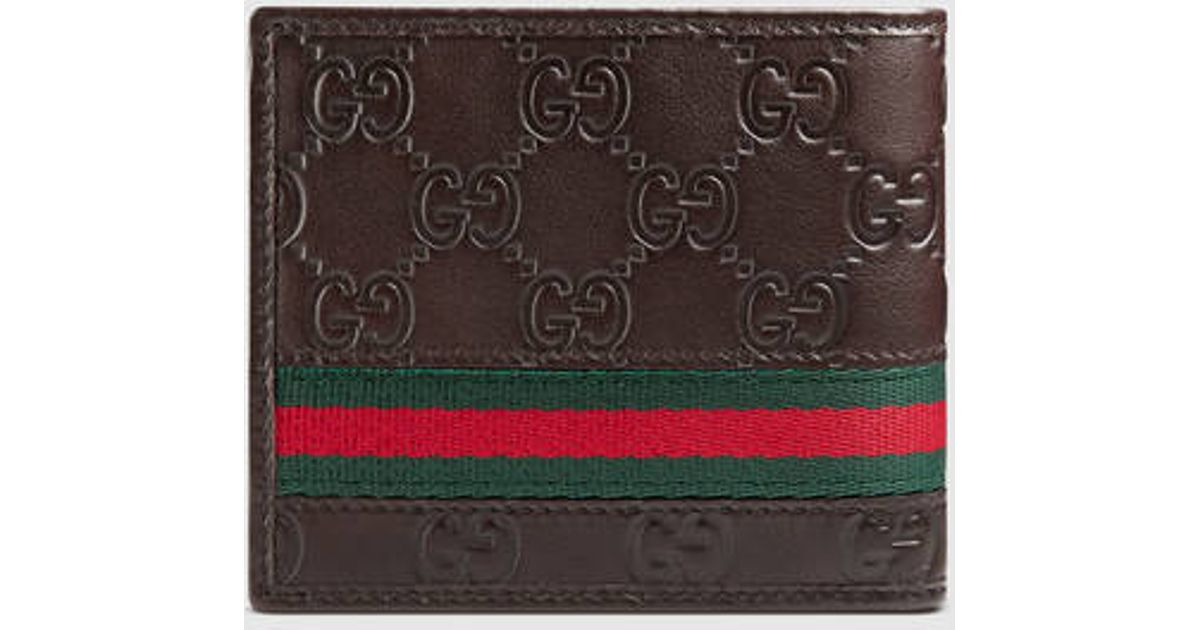 af06f92f212 Lyst - Gucci Guccissima Web Bi-fold Wallet in Brown for Men