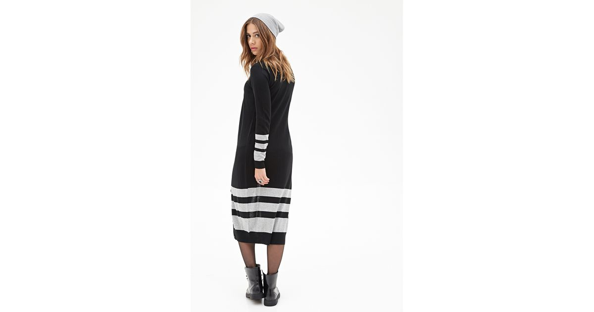 Forever 21 Striped Longline Cardigan in Black | Lyst
