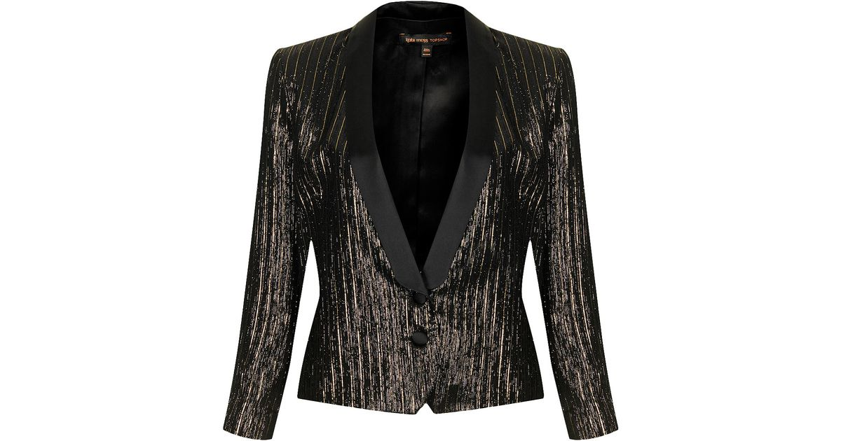 Topshop Womens Lamé Tuexdo Suit Jacket By Kate Moss For Gold in ...