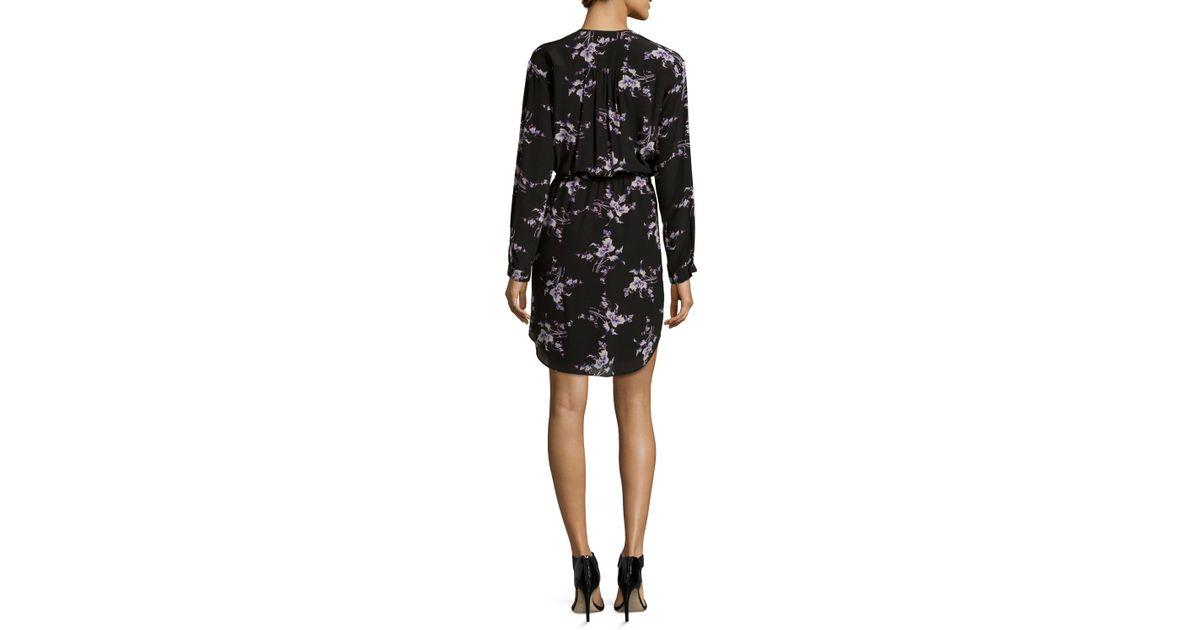 daf86631e207 Lyst - Rebecca Taylor Long-sleeve Floral-print Silk Shirtdress in Black