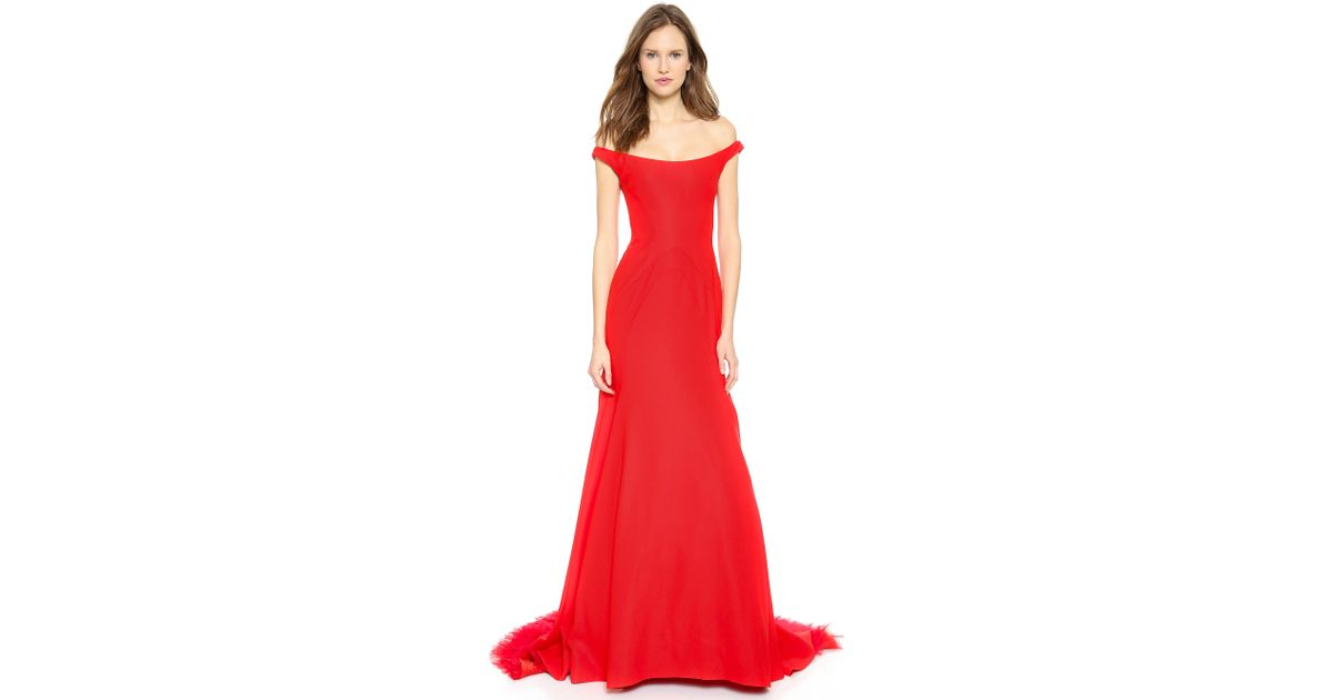 c700ff1665fd Lela Rose Off The Shoulder Gown Persimmon in Red - Lyst