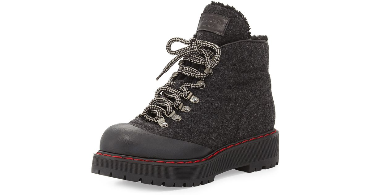 1bb936d1ff7 Prada - Black Lace-Up Felt Combat Boots - Lyst