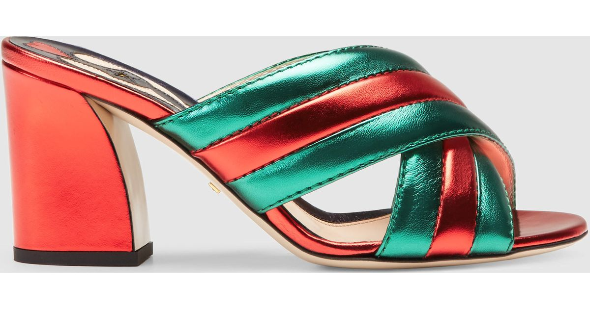 Lyst - Gucci Metallic Leather Crossover Sandal in Green d8d179358