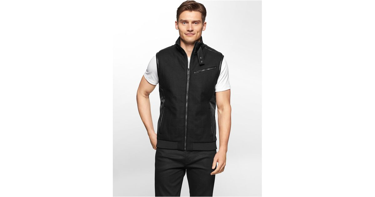 Lyst - Calvin Klein White Label Square Quilted Wool Vest in Black ...