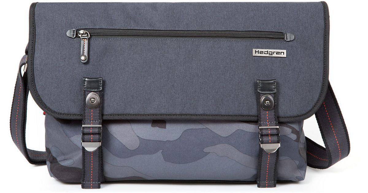high quality selected material low priced Hedgren Black Camo Print Messenger Bag for men