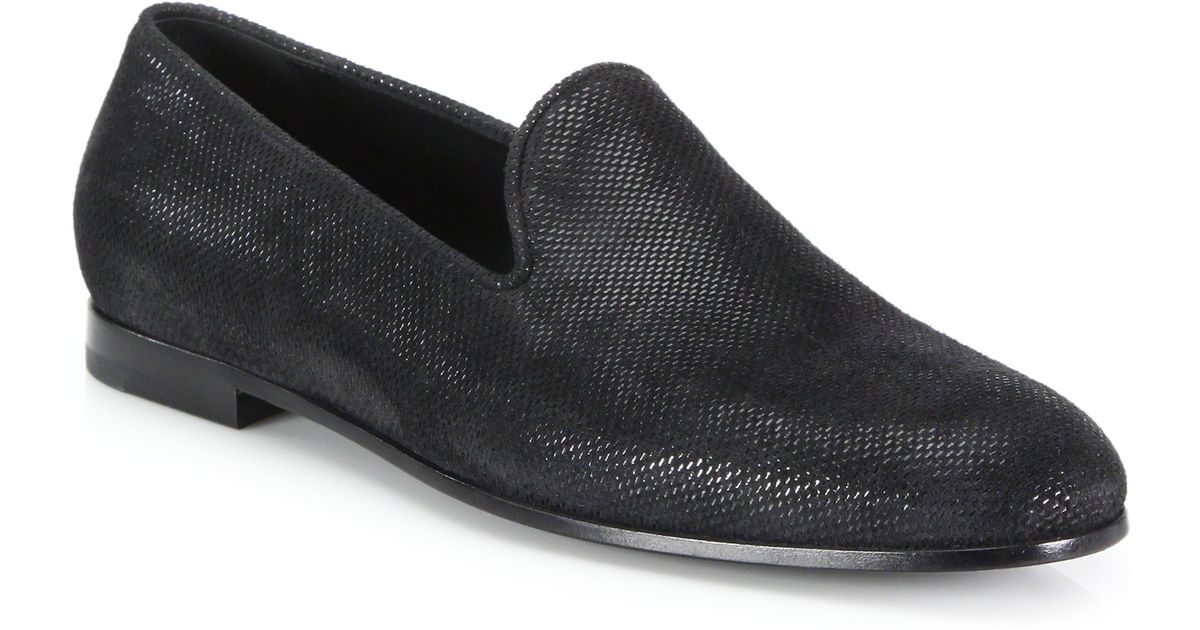 giorgio armani formal slip on loafers in black for lyst