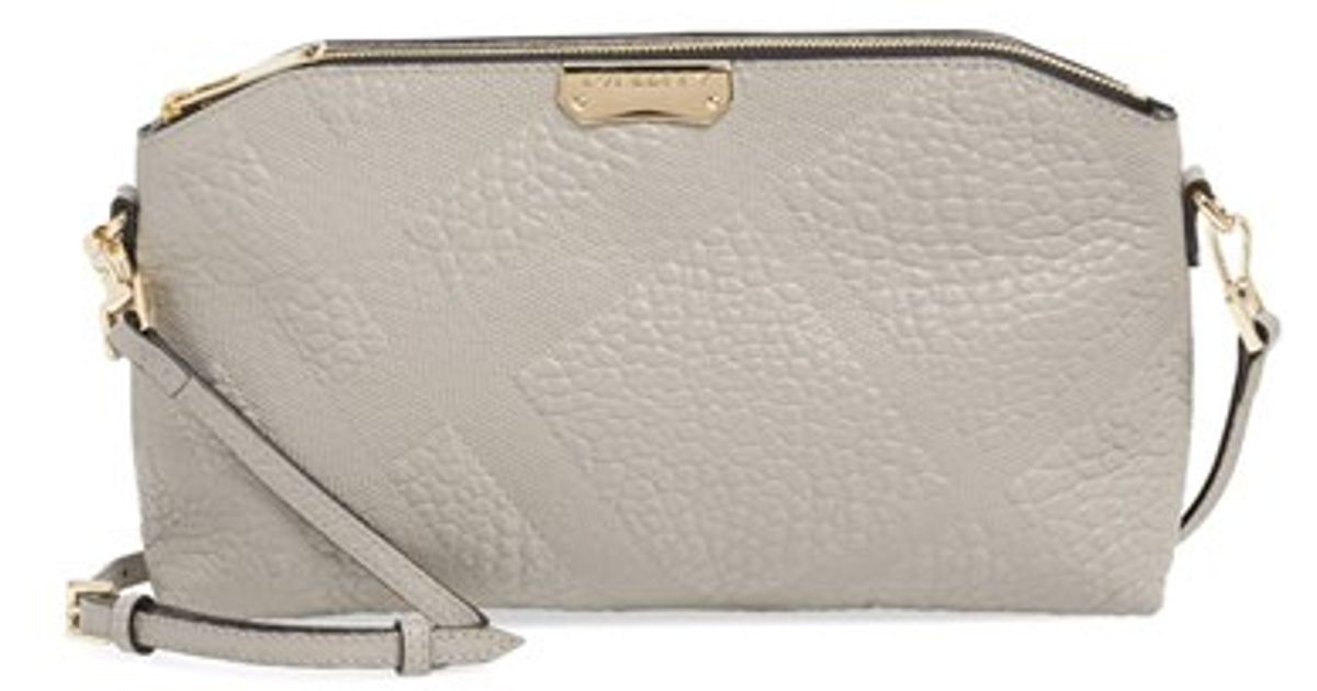 5241e963e5a3 Lyst - Burberry  small Chichester  Check Embossed Leather Crossbody Bag in  Gray