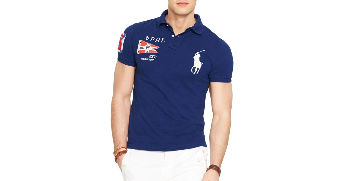 af8598ee43c ... france lyst ralph lauren custom fit yacht club mesh polo shirt slim fit  in blue for ...