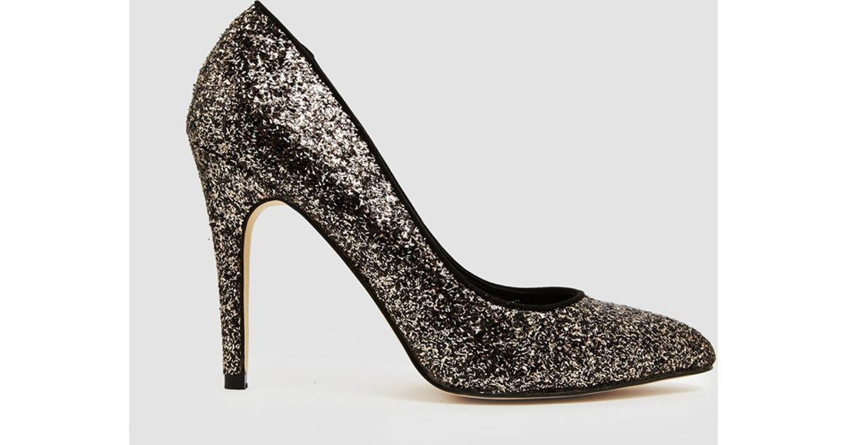 26d33a312b95 Lyst - Miss Kg Carrie Gold And Black Glitter Heeled Pumps in Metallic