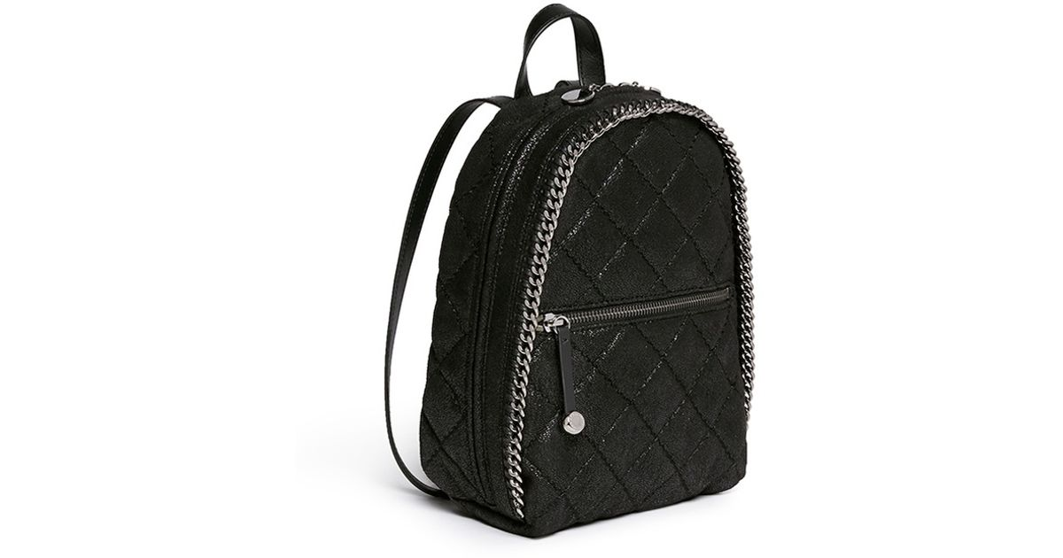 ae6fed197f Lyst - Stella McCartney  falabella  Mini Quilted Shaggy Deer Chain Backpack  in Black