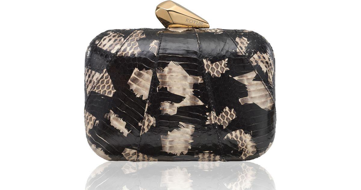 2273e7996ff Lyst - KOTUR Morley Snakeskin Clutch Bag in Black