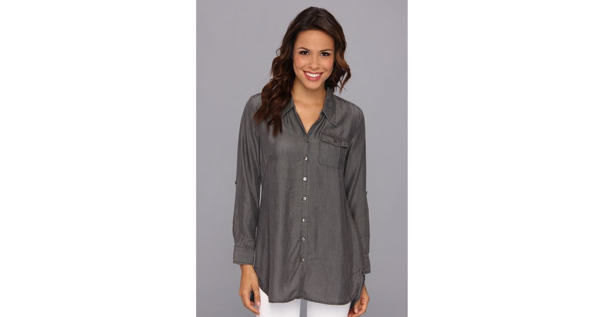 d3d0dde35 NIC+ZOE Cool Mist Denim Shirt in Gray - Lyst