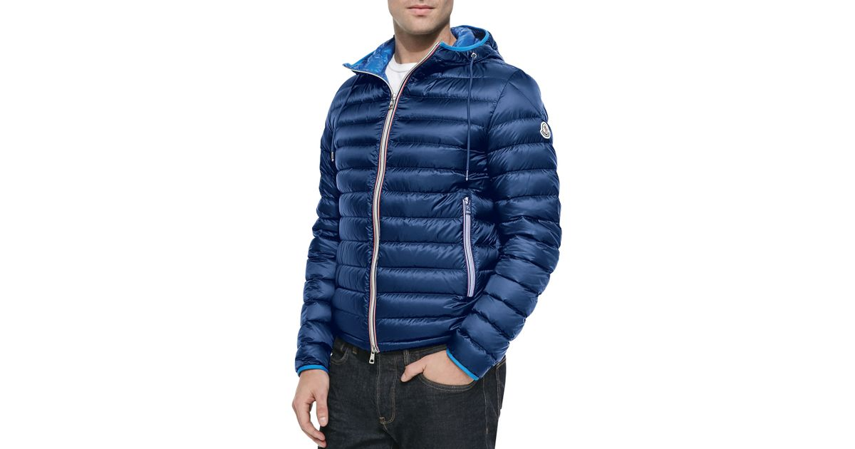b10d8b8b7 Moncler - Blue Athenes Hooded Puffer Jacket for Men - Lyst